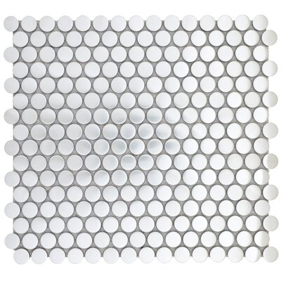 Gleam 12 x 12 Metal over Ceramic Penny Mosaic Tile in Silver