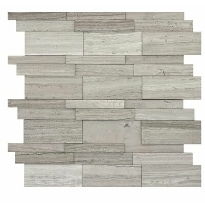 Metro 12 x 12 Limestone 3D Linear Mosaic Tile in Gray