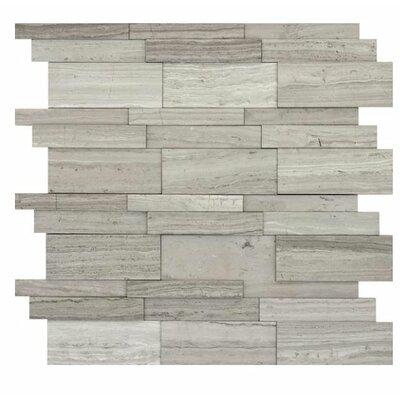 Metro 12 x 12 Limestone 3D Linear Mosaic Tile in Gray
