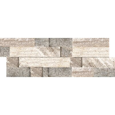 Natural Stone Slate Stacked Random Sized Quartzite Mosaic Tile in Cream Gold