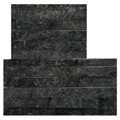 Natural Stone 16 x 6 Quartzite Corner Piece Tile Trim in Black