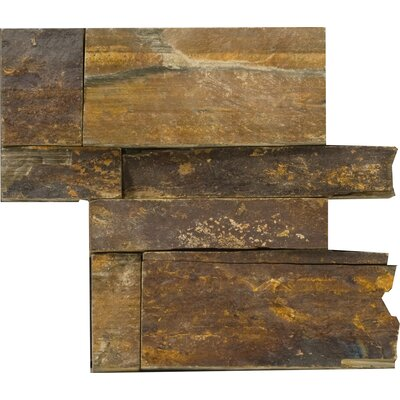 Natural Stone 16 x 6 Slate Corner Piece Tile Trim in Earth