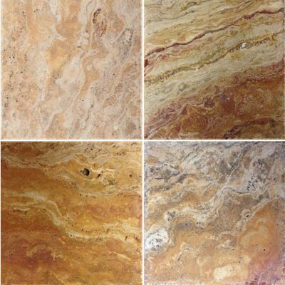 Natural Stone Scabos Banded 8 x 8 Travertine Field Tile in Scabos