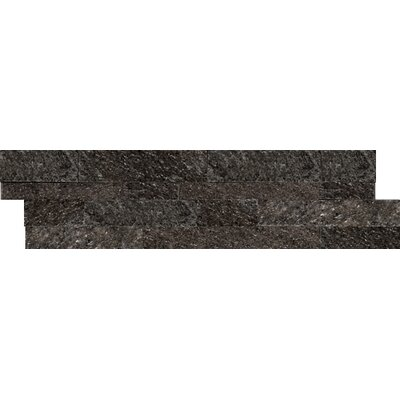Natural Stone Stacked 6 x 24 Quartzite Mosaic Tile in Black