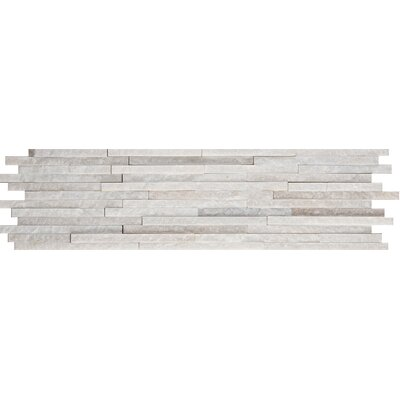 Natural Stone Mini Stacked Slate 6 x 24 Quartzite Mosaic Tile in White