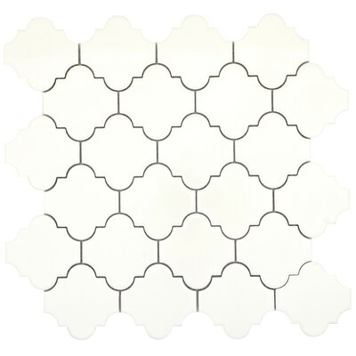 Vogue Lantern 3 x 3 Porcelain Mosaic Tile in Glossy Biscuit
