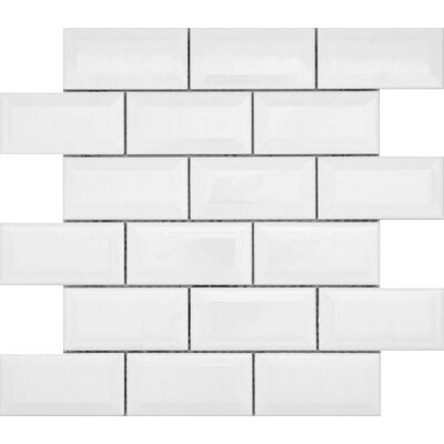 Vogue Bevel 12 x 12 Porcelain Mosaic Tile in Glossy White
