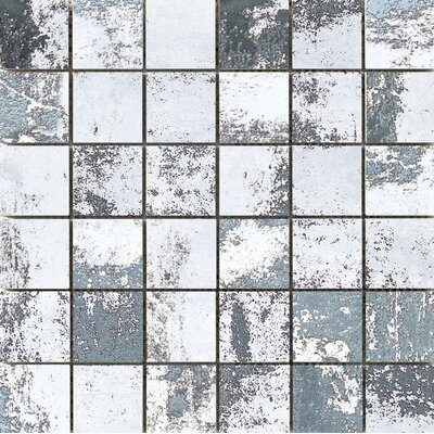 Chemistry 2 x 2 Porcelain Metal Look Tile in White