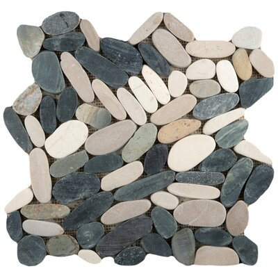 Venetian Flat Natural Stone Pebble Tile in 4 Color Blend