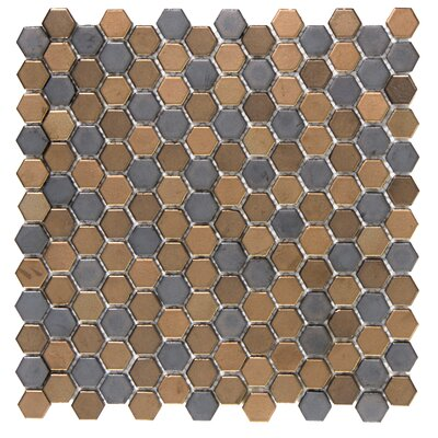 Confetti Porcelain Mosaic Tile in Metal
