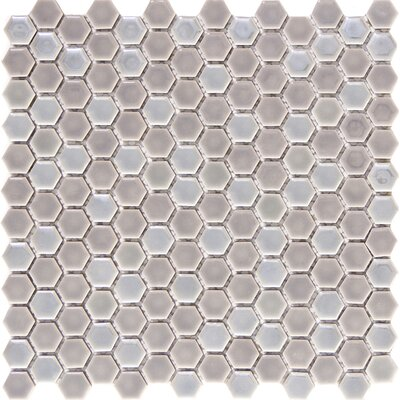 Confetti Porcelain Mosaic Tile in Silver