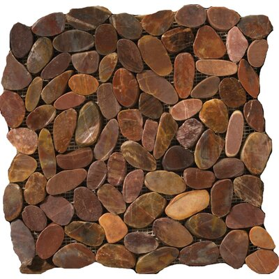 Flat Rivera Pebbles 12 x 12 Mosaic in Terracotta