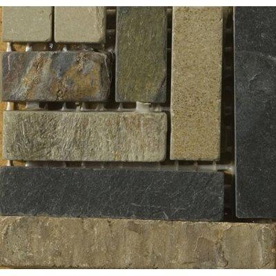 Natural Stone 4 x 4 Slate Border #23 Listello Corner Tile in Brown/Black