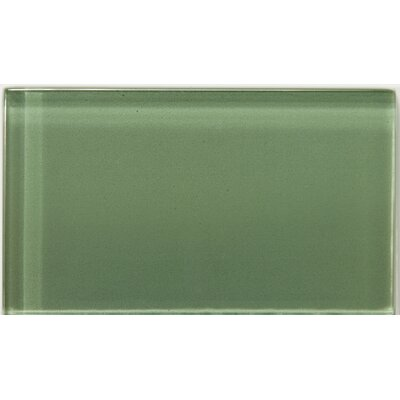 Lucente 3 x 6 Glass Subway Tile in Billiard Green