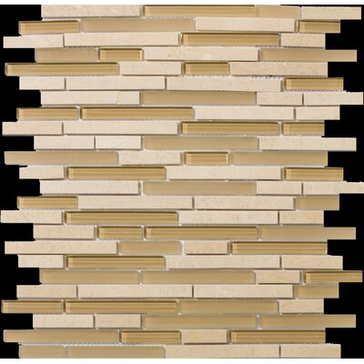 Lucente 12 x13 Glass Stone Blend Linear Mosaic Tile in Murano