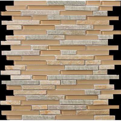 Lucente 12 x13 Glass Stone Blend Linear Mosaic Tile in Puntini