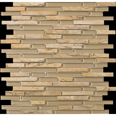 Lucente 12 x13 Glass Stone Blend Linear Mosaic Tile in Regale