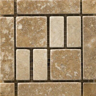Natural Stone 4 x 4 Travertine Vino Listello Corner Tile in Barbera