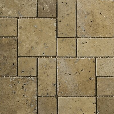 Travertine 12 x 12 Mini Versailles Mosaic in Mocha
