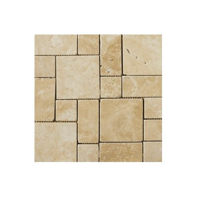 Travertine 12 x 12 Mini Versailles Mosaic in Beige