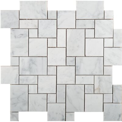 Marble Versailles Mosaic Tile in Bianco Gioia Honed