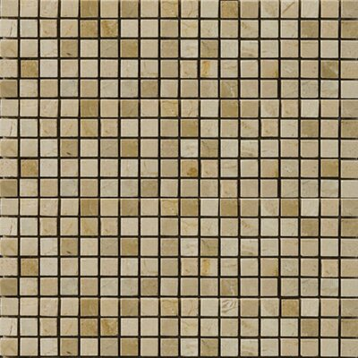 "Natural Stone 1/2"" x 1/2"" Polished Marble Mosaic in Crema Marfil/Emperador Light"