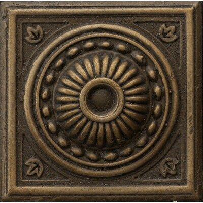 Renaissance 4 x 4 Metal Pompei Decorative Accent Tile in Antique Bronze