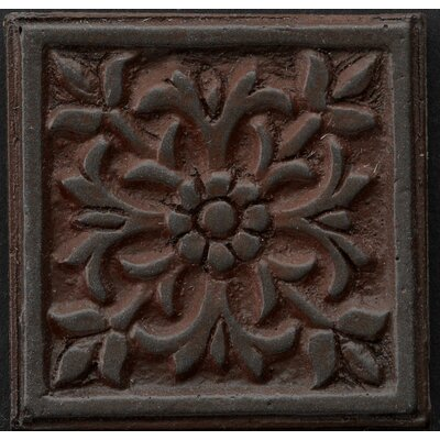 Renaissance 4 x 4 Metal Roma Decorative Accent Tile in Rust Iron