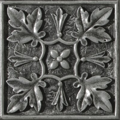 Camelot 4 x 4 Metal Arthur Decorative Accent Tile in Silver