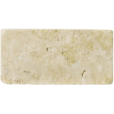 Travertine 3 x 6 Subway Tile in Unfilled Tumbled Ancient Beige
