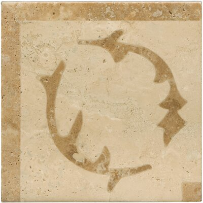 Natural Stone 4 x 4 Lario Waterjet Travertine Listello Corner