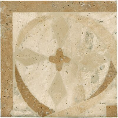 Natural Stone 4 x 4 Travertine Menaggio Waterjet Listello Tile in Brown/Beige