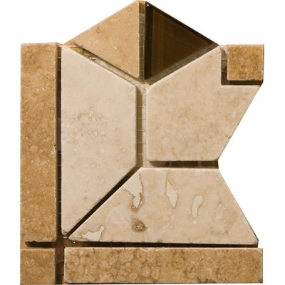 Natural Stone 4 x 4 Travertine Mietres Listello Corner Tile in Honed/Soft mauve