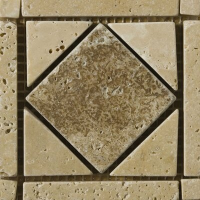 Natural Stone 4 x 4 Travertine Caldera Tumbled Listello Tile in Brown