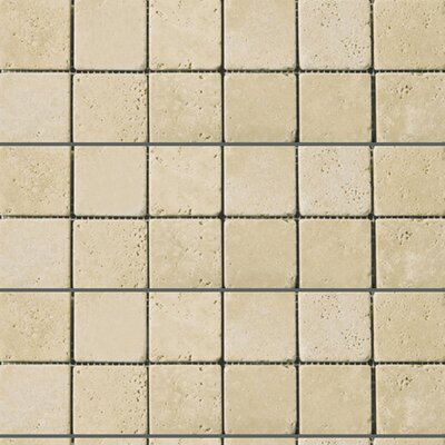 Travertine 2 x 2/12 x 12 Mosaic Tile in Ancient Tumbled Beige
