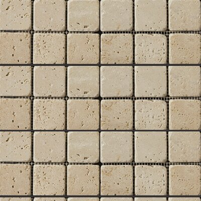 Travertine 2 x 2/12 x 12 Mosaic Tile in Ivory