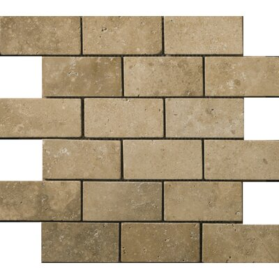 Travertine 2 x 4/12 x 12 Offset Mosaic Tile in Ancient Tumbled Mocha