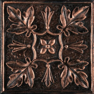 Camelot 4 x 4 Metal Arthur Decorative Accent Tile in Copper