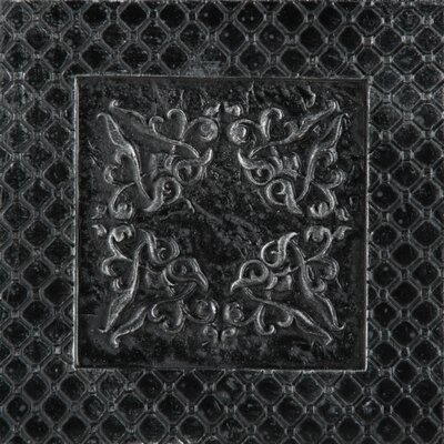 Camelot 4 x 4 Metal Igraine Decorative Accent Tile in Black