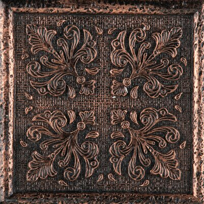 Camelot 4 x 4 Metal Merlin Decorative Accent Tile in Copper