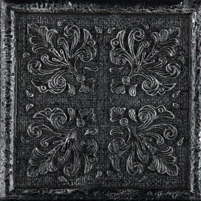 Camelot 4 x 4 Metal Merlin Decorative Accent Tile in Black