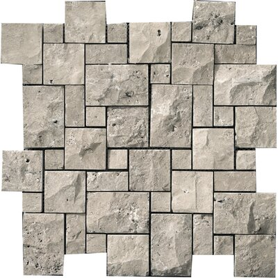 Travertine 12 x 12 Mini Versailles Mosaic in Silver