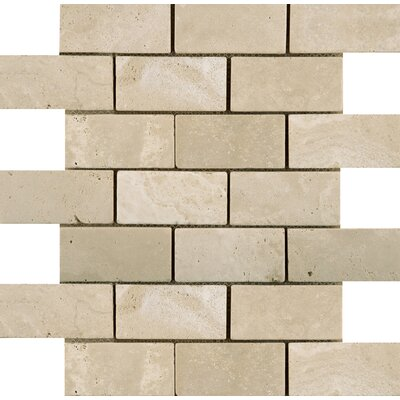 Travertine 2 x 4/12 x 12 Offset Mosaic Tile in Ancient Beige