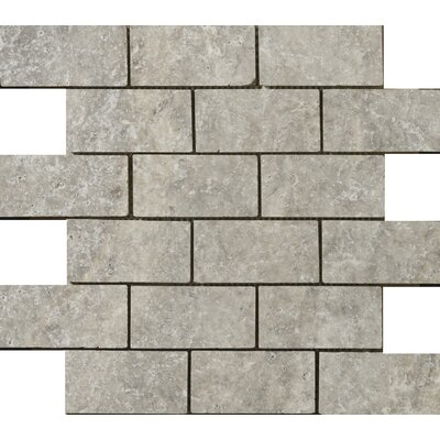 Travertine 2 x 4/12 x 12 Offset Mosaic Tile in Ancient Silver