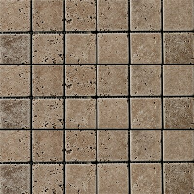 Travertine 2 x 2/12 x 12 Mosaic Tile in Walnut