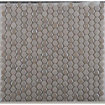 Confetti Porcelain Penny Mosaic Tile in Glazed Mocha