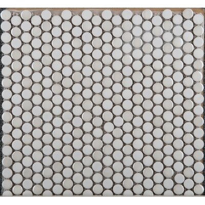 Confetti Porcelain Penny Mosaic Tile in Glazed Ancient Tumbled Mocha