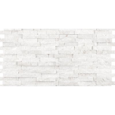 Hamlet 6 x 12 Travertine Splitface Mosaic Tile in White