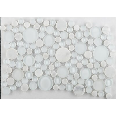 Lucente 12 x 12 Glass Stone Blend Circle Mosaic Tile in Ambrato