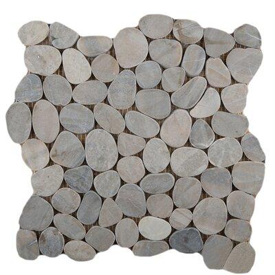 Flat Venetian Pebbles 12 x 12 Mosaic Tile in Silver